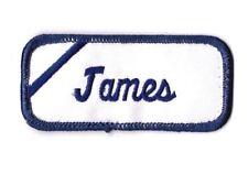 James Name Patch Blue and White Tag Automotive Oil Gas Shop Mechanic Shirt Jim