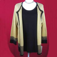 Alfred Dunner Sweater Set Black Gold 1-Piece Size L Machine Wash Retail $62 NEW