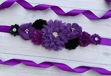 Purple and Black Maternity Sash /Baby Showers Vintage Belt /Flower Girl Sash