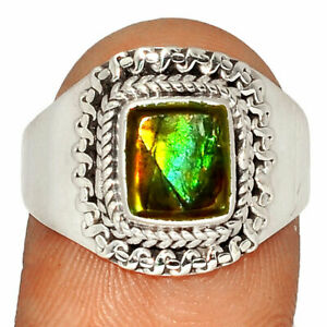 Genuine Canadian Ammolite 925 Silver Ring Jewelry s.8.5 BR30562 235G
