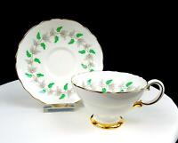 "CROWN STAFFORDSHIRE ENGLAND #CRS99 GRAY VINE GREEN GRAPES 2 1/2"" CUP & SAUCER"