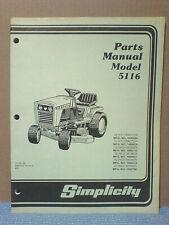 Simplicity 5116H Tractor And Mower Deck Parts Manual Tp-837-03 Original!