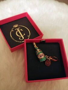 Women's Juicy Couture Pave Retired Champagne Bottle Faux Gold Bracelet Charm