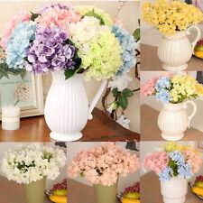 Artificial Hydrangea Bouquet Silk Flowers Leaf Wedding Bridal Party Home Decor