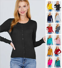 Women's Long Sleeve Round Neck Button Down Sweater Cardigan