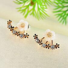 Women Elegant Crystal Rhinestone Ear Stud Daisy Flower Earrings Fashion Jewelry Rose Gold