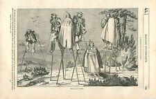 Paysans Landais sur Echasses Landes de Gascogne GRAVURE ANTIQUE OLD PRINT 1835