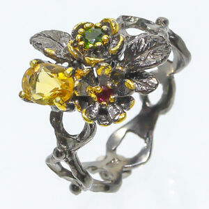 Natural Citrine and chrome diopside 925 Sterling Silver Fine art Ring/ RVS87