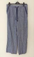 Ladies M&S Woman Sizes 10 16 18 20 Linen Tie Front Wide Leg Trousers