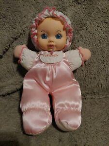 "Playskool My Very Soft Baby Doll Pink Satin Stuffed Plush Squeaks 11"""