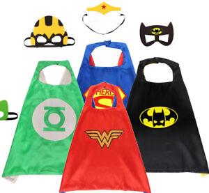 Kids Superhero Cape Boys Girls Fancy Dress Costume Cloaks Hero Cosplay Halloween