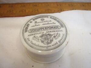 Antique Ironstone Hair Pomade Jar German Schuppenomade Iron Stone Vanity Medical