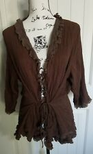 J. Jill 100% Silk Brown Cardigan Top 3/4 Sleeve Women Size Large L