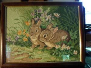Handstitched 1989 Needlepoint Baby Rabbits In Flower Garden - Glass & Wood Frame