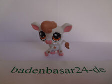 Littlest Pet Shop LPS Cow, Kuh, White/pink, brown flower eyes, Hasbro (44)