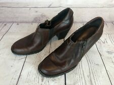 BORN CARTERET Womens 8.5 Brown Leather Short Zip Ankle Booties Boots Clogs g5m