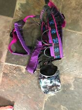Vintage 80's Jrat Rock Climbing Harness Belt Plus Chalk Bag PinK Purple