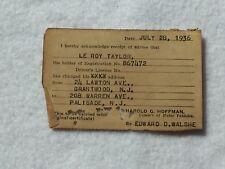Vintage 1936 New Jersey Vehicle DMV Address Change Le Roy Taylor 21991