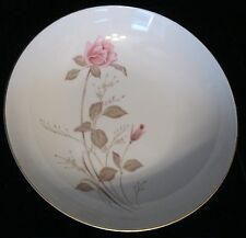 "MINUET ROSE #8547 JAPAN 9"" ROUND VEGETABLE BOWL PINK ROSE BROWN & GREEN LEAVES"