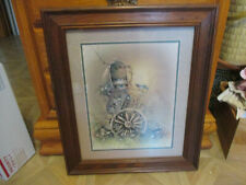 Vintage Home Interiors Picture Old Mailbox With Birds, Wagon Wheel, Flowers