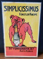 Simplicissimus Künstler Kneipe Hund Bulldogge mit Sekt Original