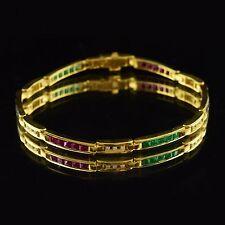 18K Yellow Gold, Ruby, Sapphire, Emerald & Diamond, Estate Tennis Bracelet
