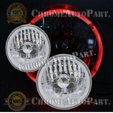 "Lens Chrome Diamond Cut Headlights Headlamps 7"" Inch Round Red Halo Clear"