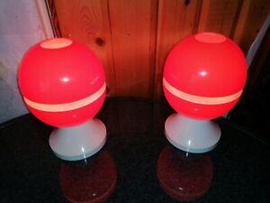 DDR Vintage Paar Orange Kugel Tischlampe Pilz  70er Space Age Vintage Kult Ei