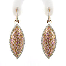 2.46ct Fancy Pink Diamonds Earrings 18K All Natural 10 Grams Real Rose Gold