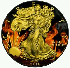 2016 1 oz Silver BURNING LIBERTY Coin, WITH Black Ruthenium AND 24k Gold..