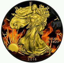 2016 1 oz Silver Coin Burning Liberty Black Ruthenium & 24k Gold
