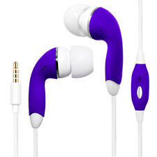 Purple Universal 3.5mm Earphones Remote Control w/ Mic Handsfree Stereo Headset