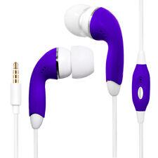 Purple Universal 3.5mm Earphones Remote Control w/ Mic Handsfree Stereo Headset
