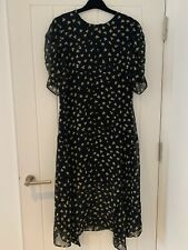 H&M NEW CHIFFON BLACK AND WHITE SMALL PRINT SHORT SLEEVE DRESS NEW SIZE UK 10