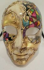 Mar 4 hecho a mano en Italia, papel maché, Masquerade Party Full Face, Multicolor