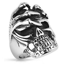 Herren Biker Rocker Ring Totenschädel mit Skelett Hand Gothic Edelstahl Massiv