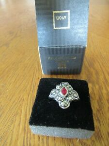 Avon Faux Marcasite Filigree Ring Ruby Red Stone Size 8 New In Box