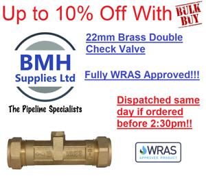 22mm Brass Double Check Valve/Non Return Valve DCV. Fully WRAS Approved Bulk Buy