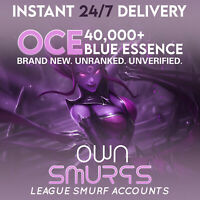 [OCE] League of Legends LOL Account Unranked OCE SMURF LoL 40,000 - 50,000 BE IP