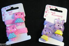 hair bobbles set of 2 girls ponio with bear or rabbit colour choice new