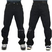 Mens Georgio Peviani jeans, black g denim, straight fit urban hip hop star loose