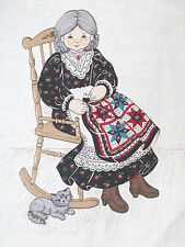 "Cranston cloth soft sculpture Granny Doll fabric panel Mini QUilt cut n sew 16"""