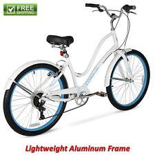 Women Comfort Bike 26� White Lightweight Aluminum Frame Cruiser Hybrid Shimano