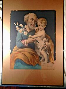 1860  Bartolome Esteban Murillo Lithograph Marin Lavigne  St. Joseph & Child