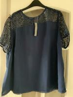 SOUTH Navy blue Yoke & Sleeve Embroidered Crochet Trim Blouse Top rrp £37 sz 24