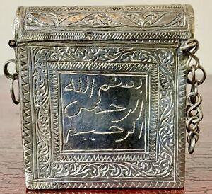 ULTRA RARE ANTIQUE ARABIC ISLAMIC QURAN SCRIPTURE AMULET TALISMAN SILVER BOX