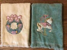 2 Decorative Fingertip Towels-Green w/ Carousel Horse & Cream w/ Wreath