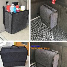 Soft Woolen Felt Car Trunk Organizer Bag Fireproof Stowing Tidy Storage Box Gray