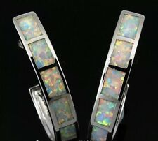 STUNNING White Fire Lab Opal With Colours Highlights Large Hoop Earrings Silver