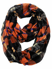 D&Y Halloween Theme Sheer Loop Infinity Scarf Plaid With Cats